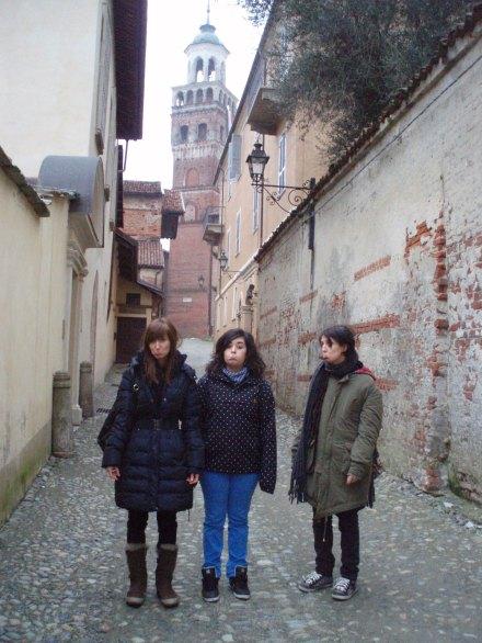 Berta, Clara y Alba en Saluzzo.